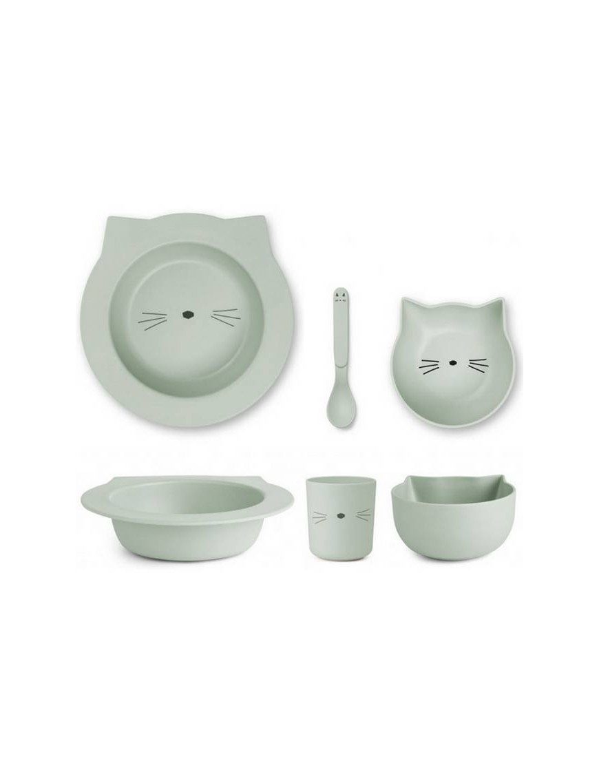 "Liewood - bamboo tableware box set : cat, mint ""Barbara"""