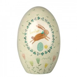 Maileg bunny easter egg tin box - green