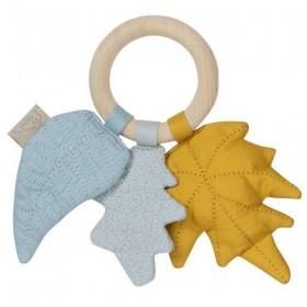 "CamCam Copenhagen - Hochet bébé : feuilles ""mix, moutarde"""