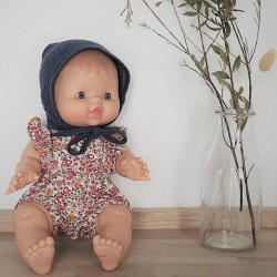 Baby girl doll : red liberty romper & baby hat