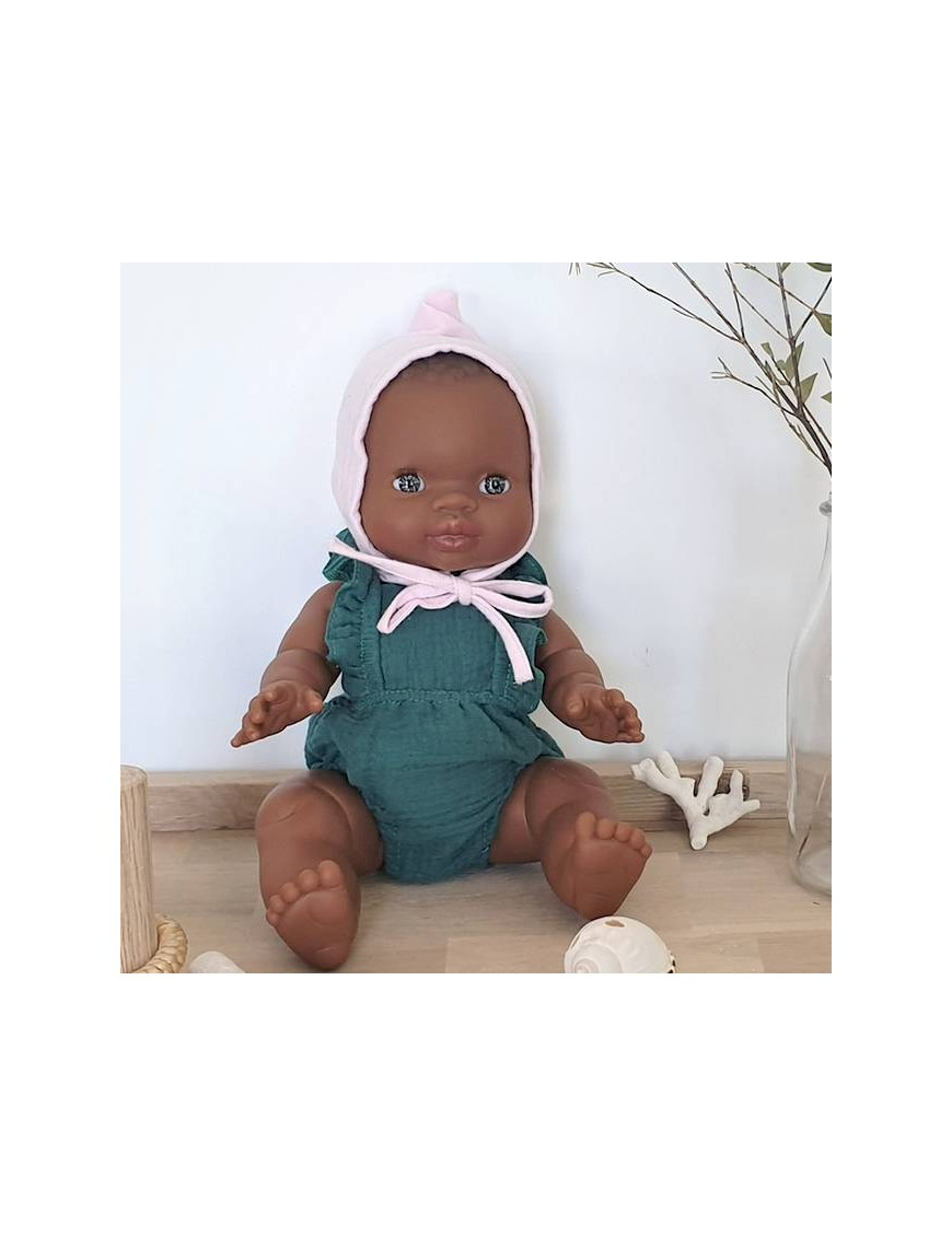 African baby girl doll : green romper & baby hat
