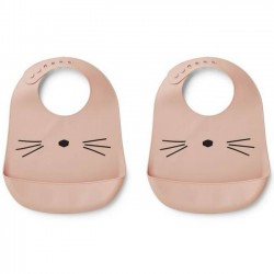 Liewood - bavoir silicone (x2) : chat, rose