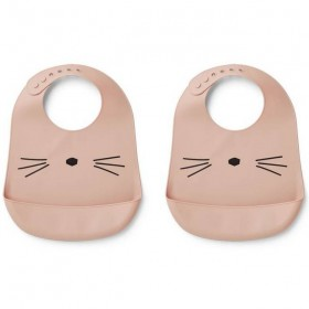 "Liewood - ""Tilda"" silicon bib : cat, rose (x2)"