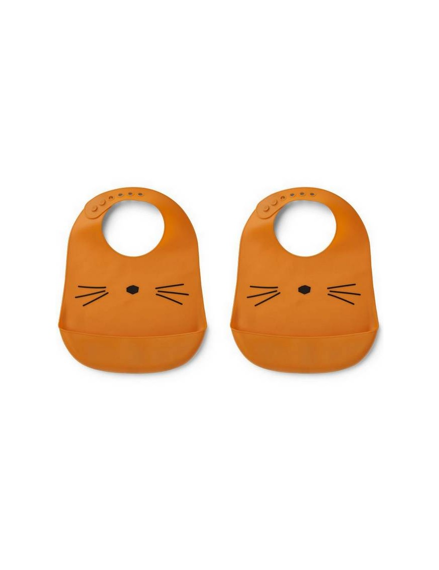 Liewood - bavoir silicone (x2) : chat, moutarde
