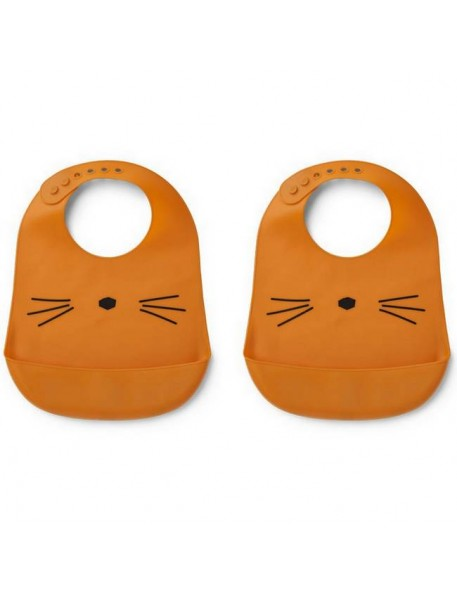 Bavoir Liewood silicone (x2), chat/moutarde