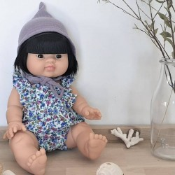 Asian girl doll : blue liberty romper & baby hat