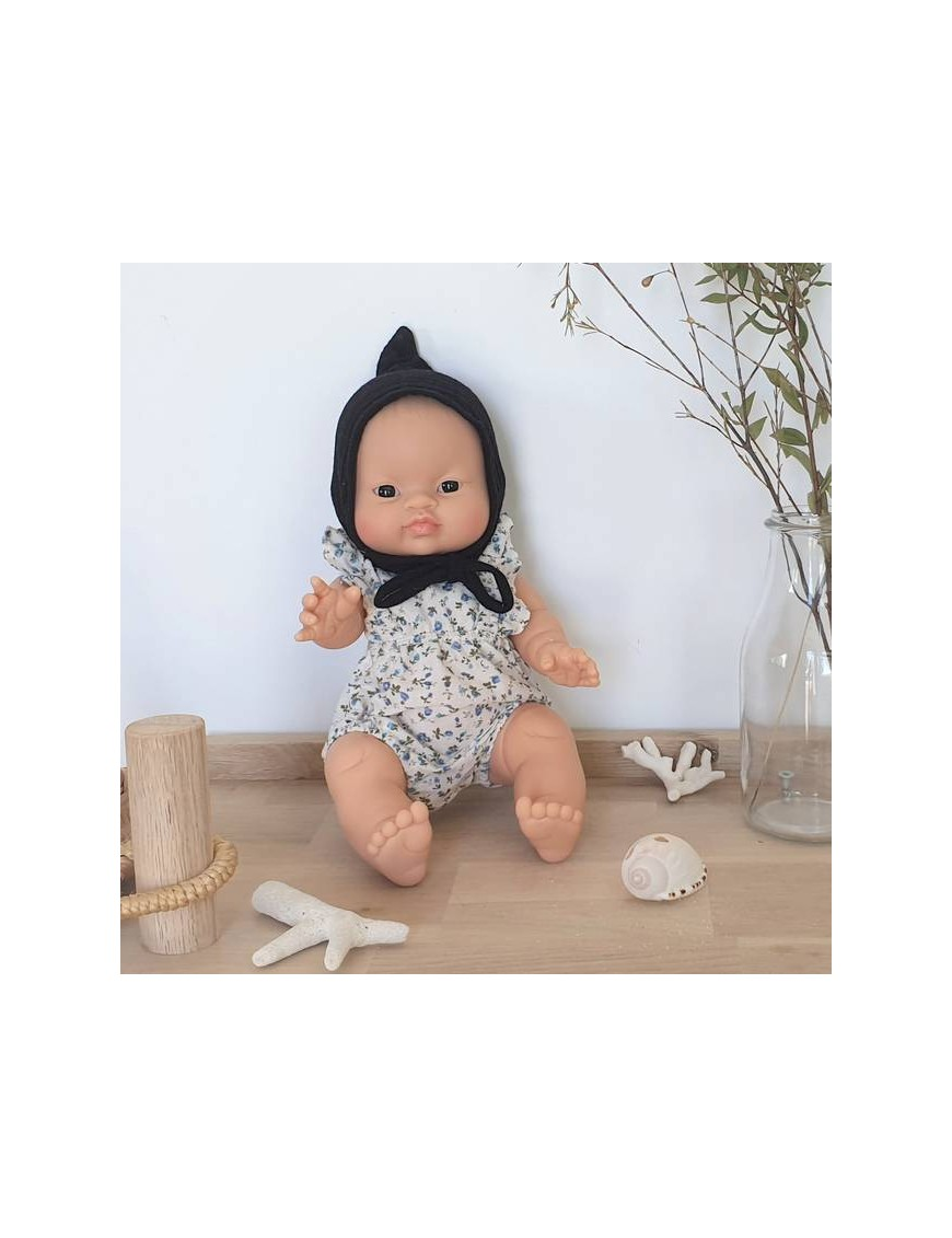 Asian baby girl doll : blue liberty romper & baby hat