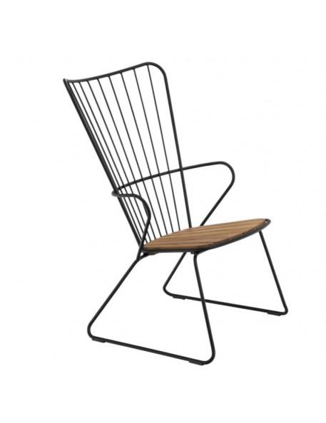 """Chaise de jardin, noir et bambou """"Paon"""" HOUE"""