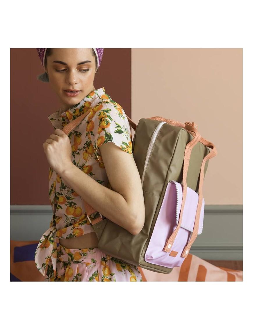 "Sticky Lemon - backpack large ""Deluxe"" : olive, lilac, orange"
