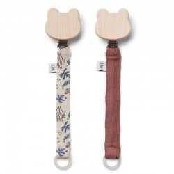 "Liewood - pacifier strap ""Barry"" : coral floral mix (x2)"
