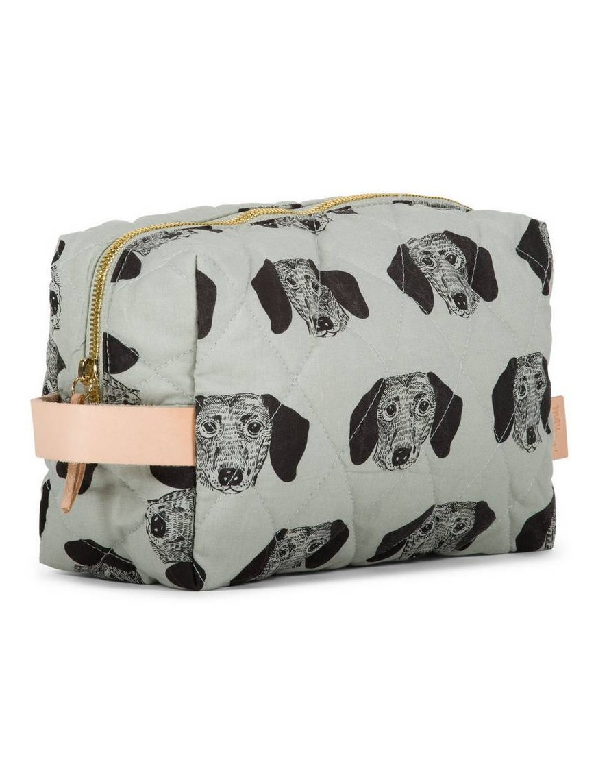 "MOUMOUT - large duffle pouch : almond/dog ""Toto"""
