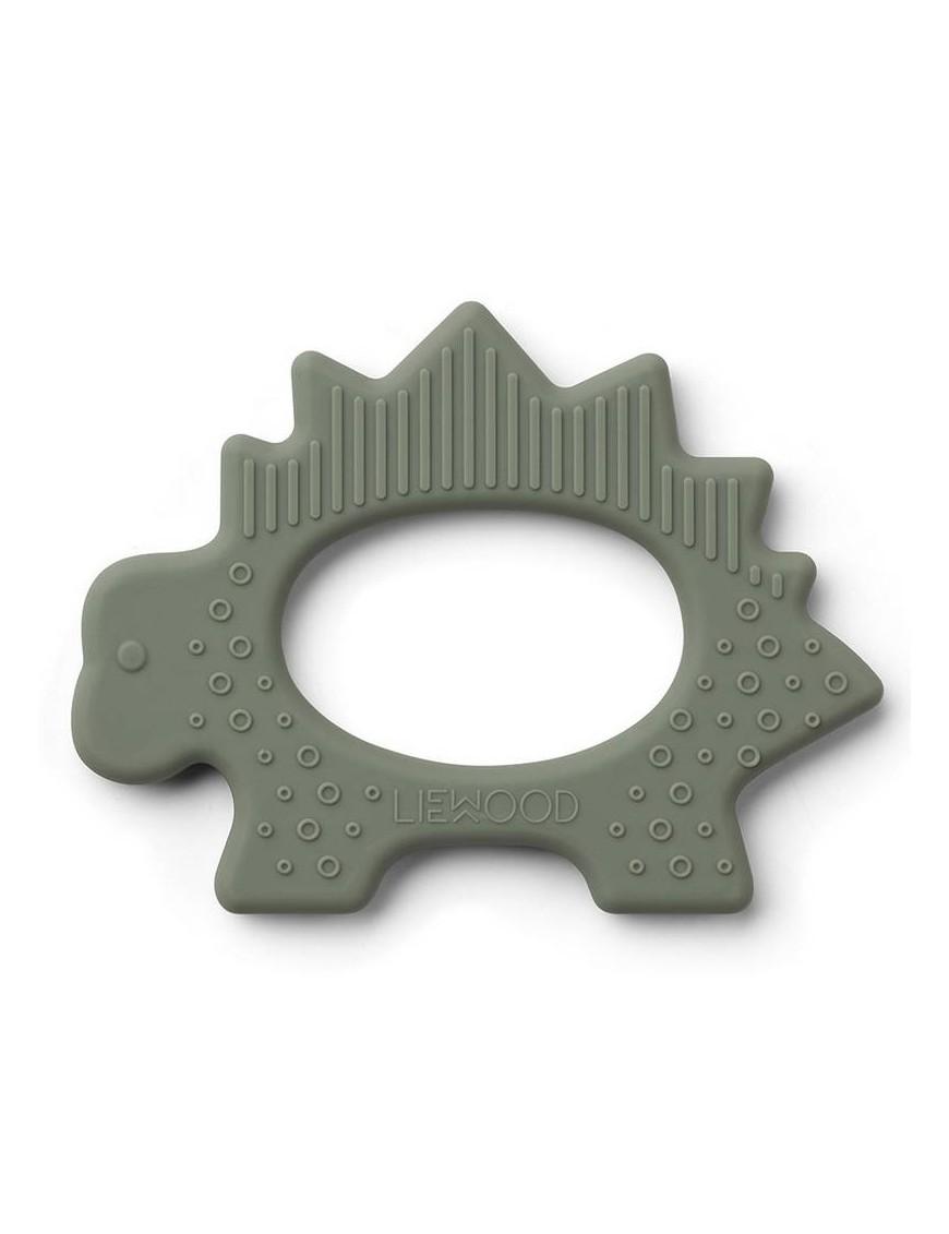 Anneau de dentition silicone Liewood : dino, vert kaki