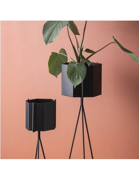 Cache-pot hexagonal noir - large - Ferm living