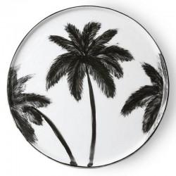 Assiette porcelaine : palmier noir, D14.5cm