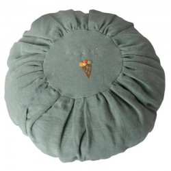 Maileg - round linen cushion, dusty blue