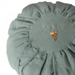 Maileg - round linen cushion, dusty blue