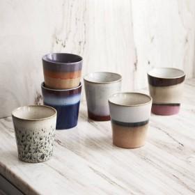 HK Living ceramic 70's mugs (set of 6)