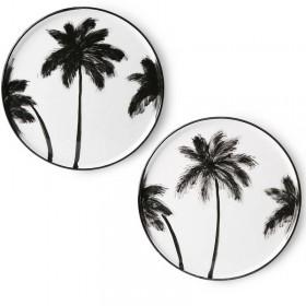 Set de 6 assiettes palmier, D27cm HK Living