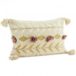 Embroidered cushion w/ tassels, powder