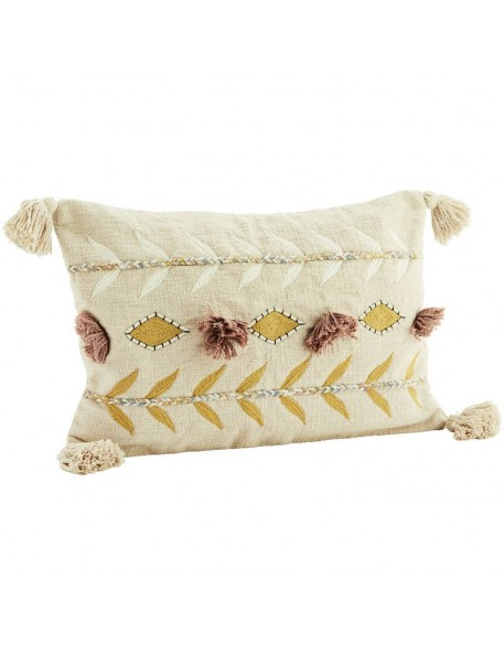 Embroidered cushion w/ tassels, powder