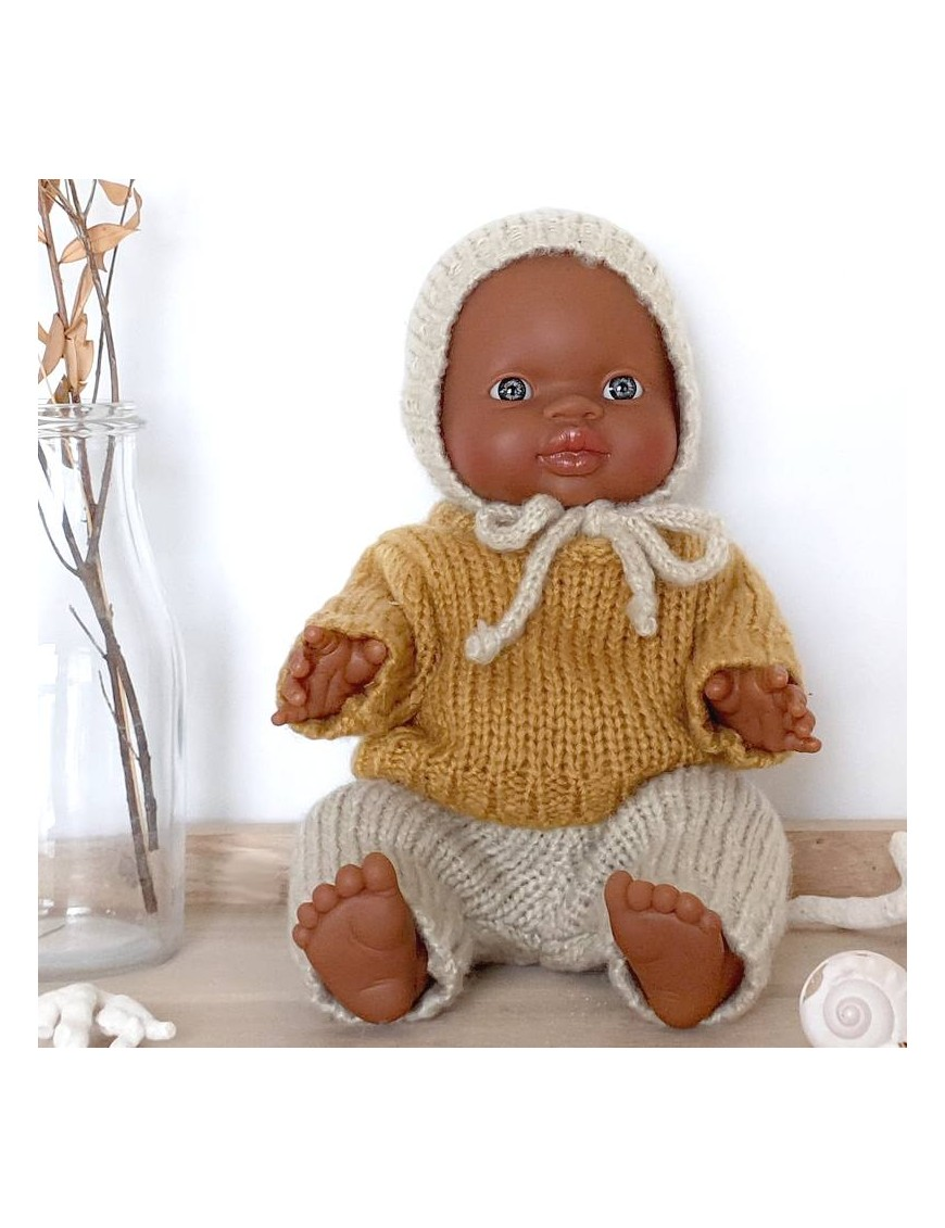 African baby boy doll : checked romper & baby hat