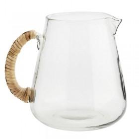 Madam Stoltz Glass jug w/ bamboo handle