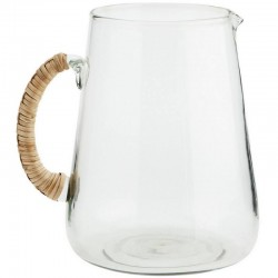Madam Stoltz Large glass jug w/ bamboo handle
