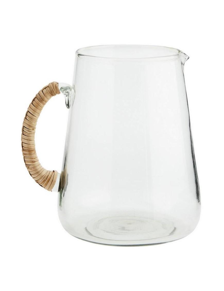 Madam Stoltz Large glass jug w/ bamboo handle