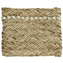 Madam Stoltz straw clutch with sea shells