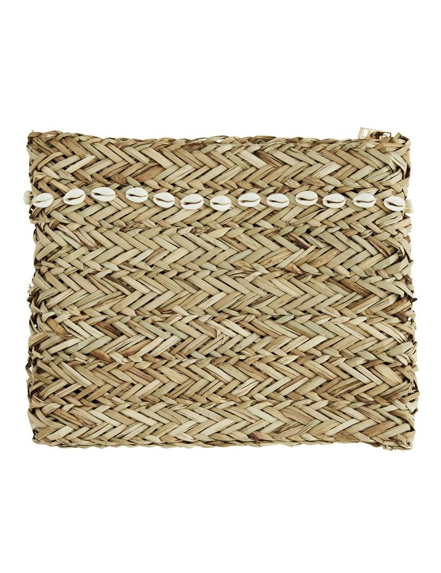 Madam Stoltz straw clutch with sea shells