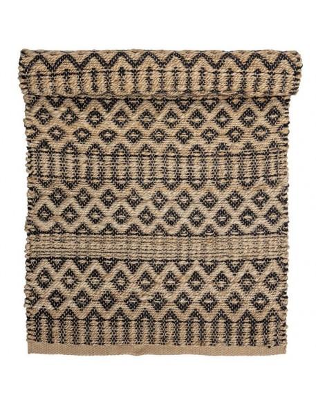 Tapis naturel à motif ethnique noir Bloomingville