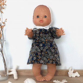 Baby girl doll : red flowers romper & baby hat