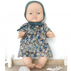 Asian baby girl doll : liberty dress with baby hat