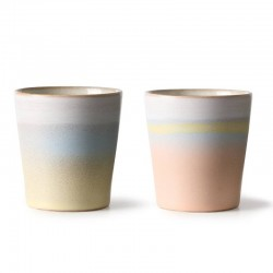 HK Living suites special: ceramic 70's mugs horizon (x2)