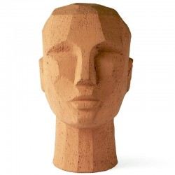 HK living abstract head sculpture terracotta