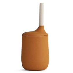 Liewood gobelet avec paille 100% silicone, moutarde