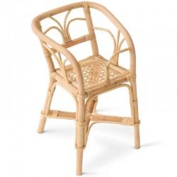 Chaise haute pour poupée en rotin