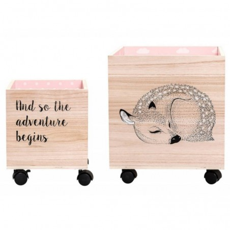 Set de 2 coffres à roulettes en bois - faon Bloomingville mini