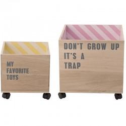 Set de 2 coffres à roulettes en bois - rayé Bloomingville mini