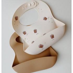 Bavoir silicone popcorn Konges slojd, set x 2