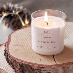 Bougie parfumée 100% naturelle, au coin du feu - Saugette