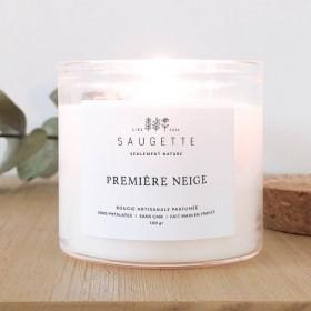 Bougie parfumée 100% naturelle, première neige - Saugette