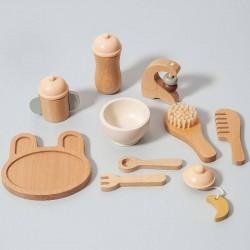 Jouet coffret d'accessoires bébé en bois