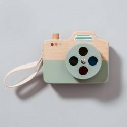 Jouet appareil photo en bois bleu