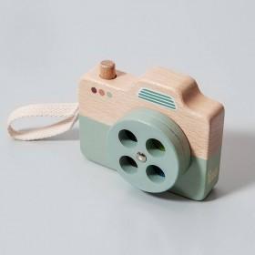 Jouet appareil photo en bois, bleu