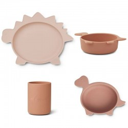 "Coffret repas silicone dino rose ""Cyrus"" Liewood"