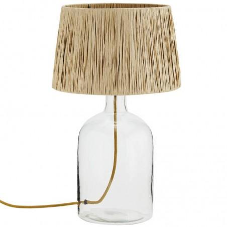 Lampe de table en verre et raphia Madam Stoltz