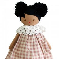 "Poupée ""Aggie"" robe Vichy rose (45 cm) ALIMROSE design"