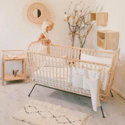 Rattan and metal baby bed,...