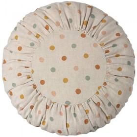 Coussin rond en lin à pois multicolores, large Maileg